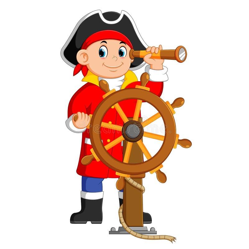 i pirati sta tenendo il binocolo e la direzione la nave illustrazione vettoriale