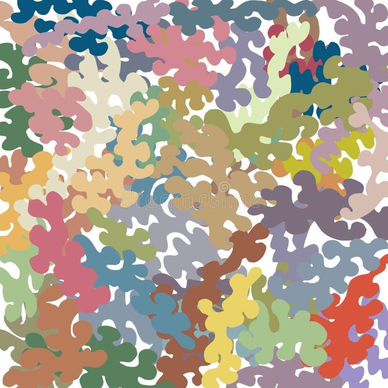 I plaches colorati con i bordi contorti, un profilo ondulato disegnato a mano, in base alla spazzola rustica manualmente disegnat illustrazione vettoriale