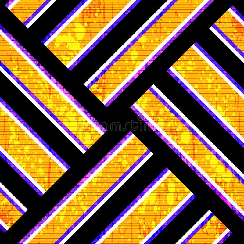 I poligoni arancio luminosi su un lerciume nero del fondo strutturano il fondo geometrico illustrazione vettoriale