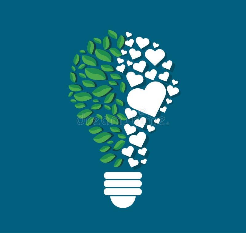 I poligoni di pensiero di simbolo progettano nella forma della lampadina, il concetto di eco, Giornata mondiale dell'ambiente royalty illustrazione gratis