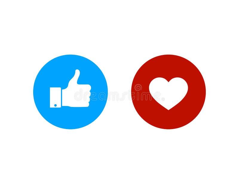 I pollici aumentano e l'icona del cuore Bottoni del cuore e di simile Buona icona piana per i media sociali Vettore eps10 illustrazione vettoriale
