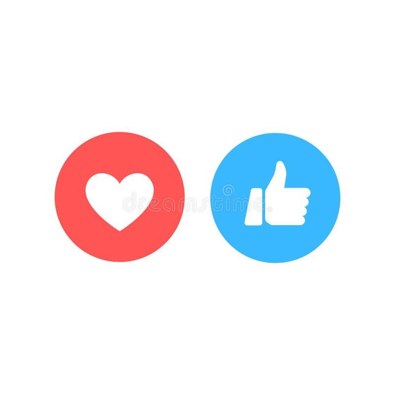I pollici aumentano e l'icona del cuore su un fondo bianco Reazioni comprensive di Emoji, stampate su carta Media del sociale di  illustrazione vettoriale