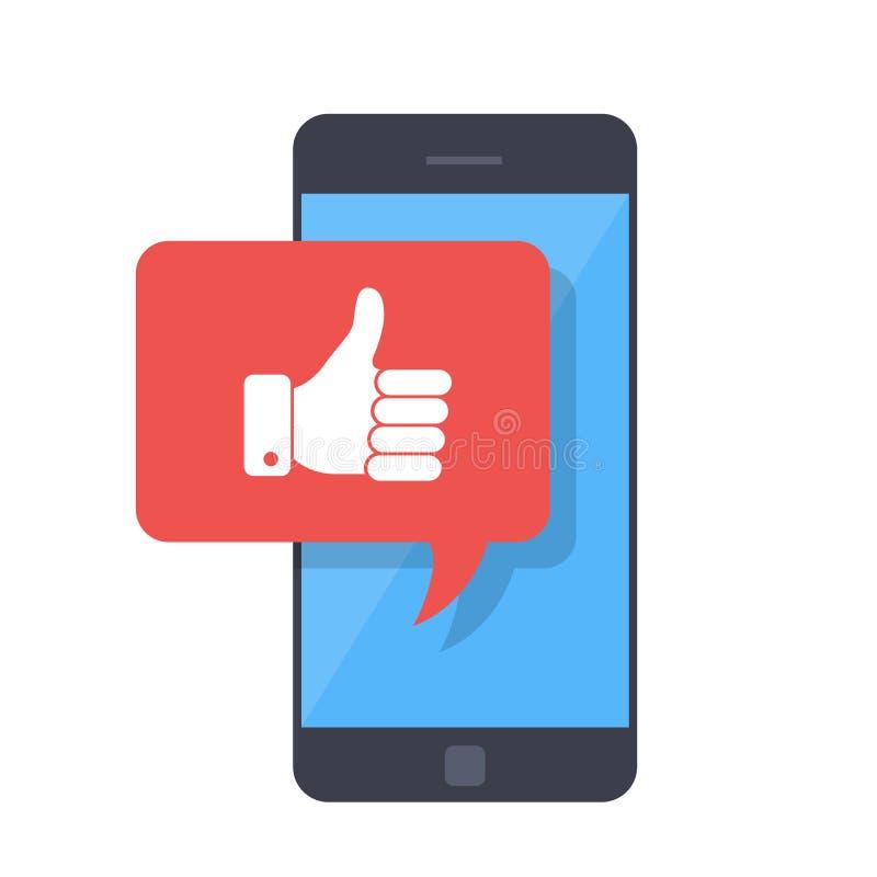 I pollici aumentano l'icona con lo smartphone Come il messaggio sullo schermo, come il bottone Rete sociale, uso sociale di media illustrazione di stock