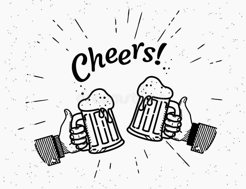 I pollici aumentano l'icona di simbolo con la bottiglia di birra illustrazione vettoriale