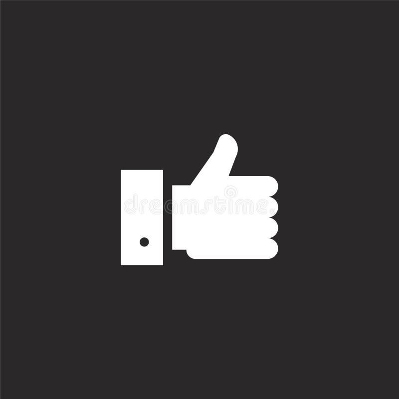 I pollici aumentano l'icona Pollici riempiti sull'icona per progettazione del sito Web ed il cellulare, sviluppo del app pollici  illustrazione vettoriale