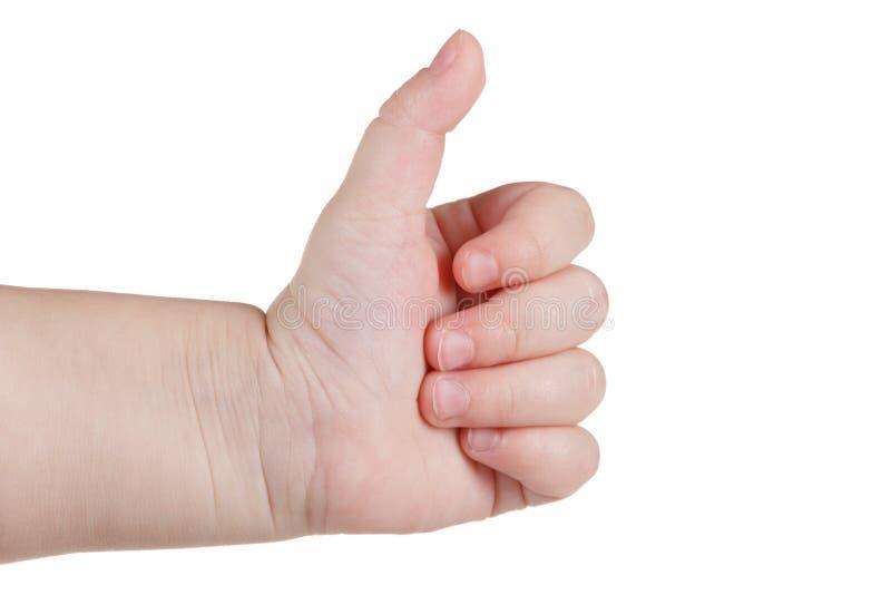 I pollici di approvazione su gradiscono il segno, gesto di mano caucasico del bambino isolato sopra bianco immagini stock libere da diritti