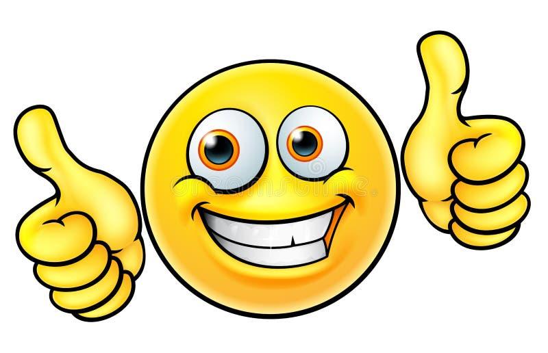 I pollici felici aumentano l'emoticon di Emoji illustrazione di stock
