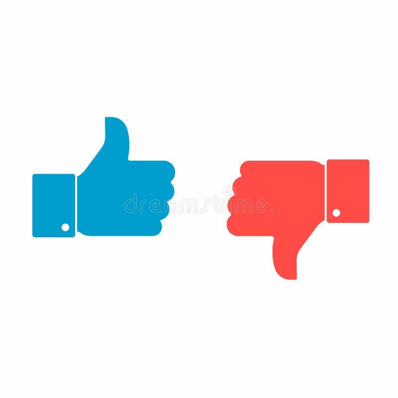 I pollici su e giù gradiscono e aborrono l'insieme sociale del segno dell'icona illustrazione di stock