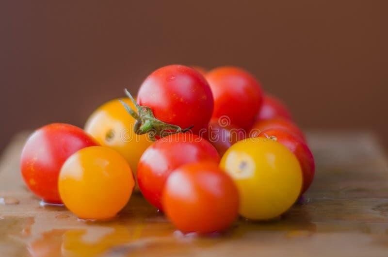 I pomodori ciliegia organici da un giardino sono rossi gialli sani fotografie stock