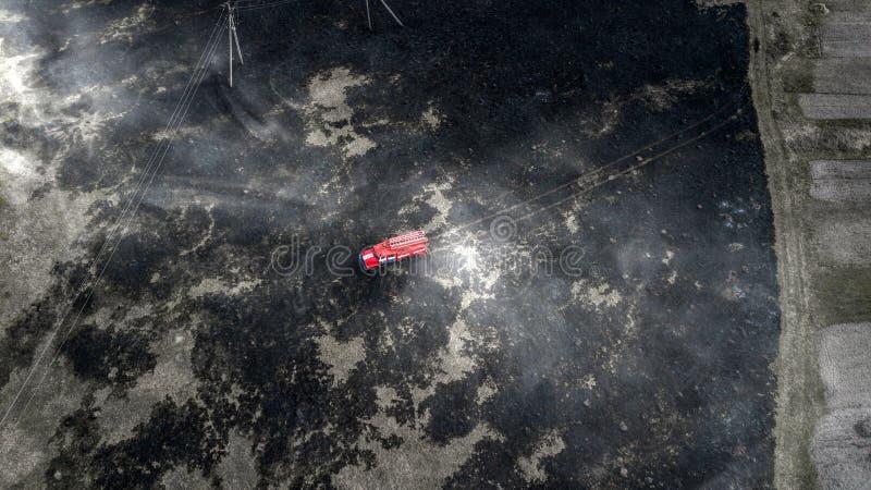 I pompieri estinguono un fuoco in foresta tramite l'inondazione dell'acqua immagini stock libere da diritti