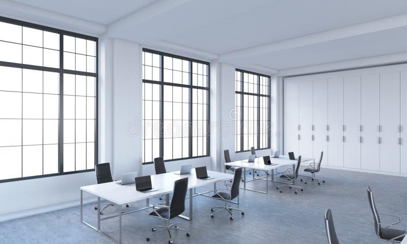 I posti di lavoro in uno spazio aperto moderno luminoso mandano in aria l'ufficio illustrazione vettoriale
