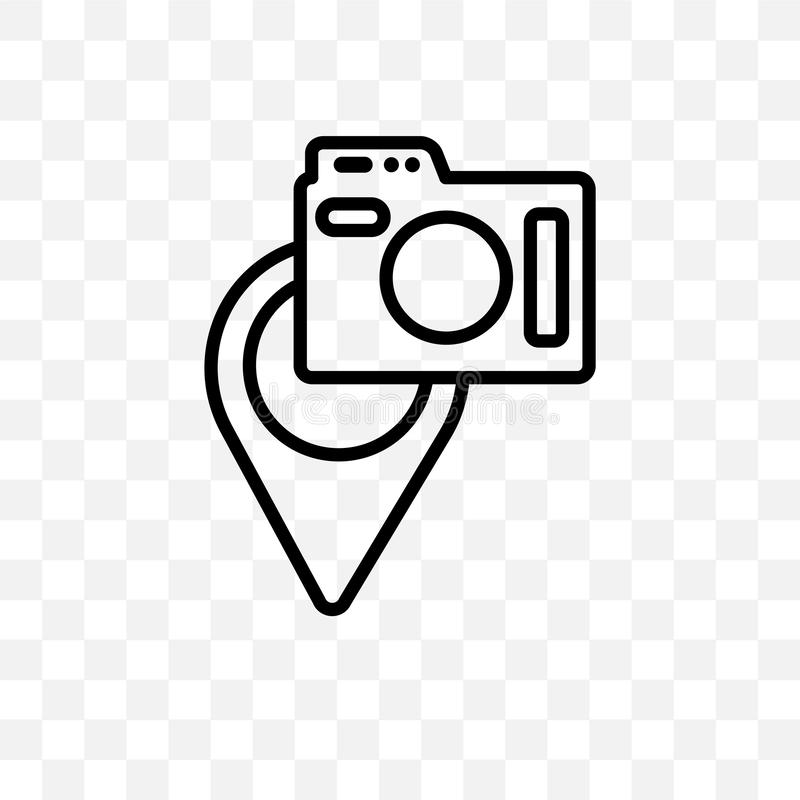 I posti per fotografare l'icona lineare di vettore isolata su fondo trasparente, posti al concetto della trasparenza della fotogr illustrazione vettoriale