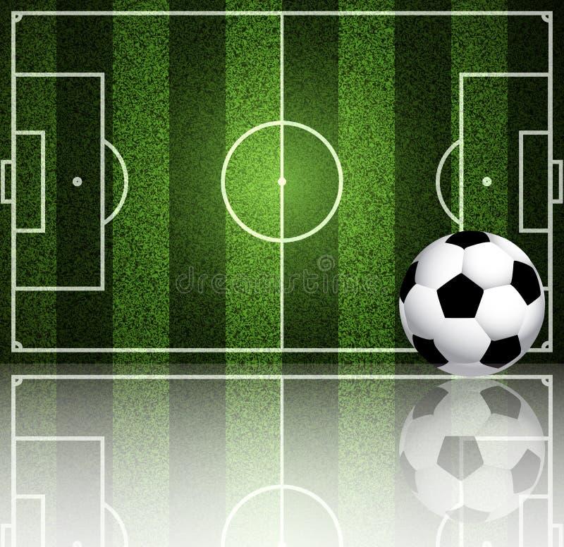 I precedenti di un campo di football americano e di una palla illustrazione di stock