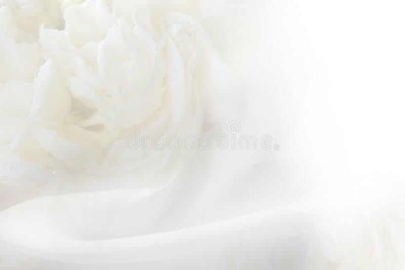 I precedenti sono fiore leggero ed il tessuto bianco ha un rippl molle fotografia stock libera da diritti