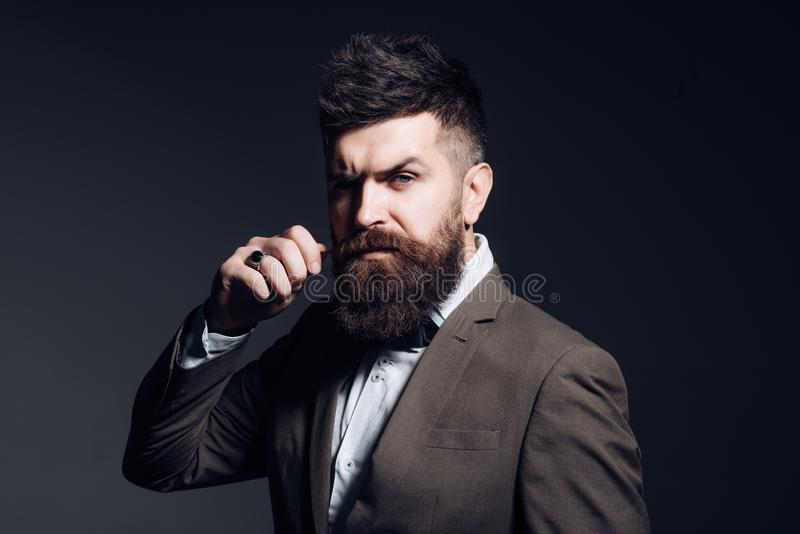 I prefer a barber to a hair stylist. Mens fashion. Man with long beard in business wear. Business as usual. Bearded man. After barber shop. Fashion industry stock images