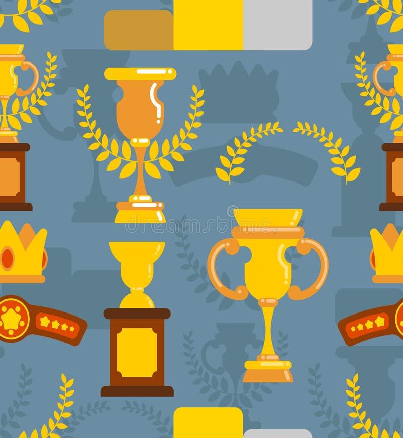 I premi del vincitore sono modello senza cuciture Tazze e orname del ramo di ulivo illustrazione vettoriale