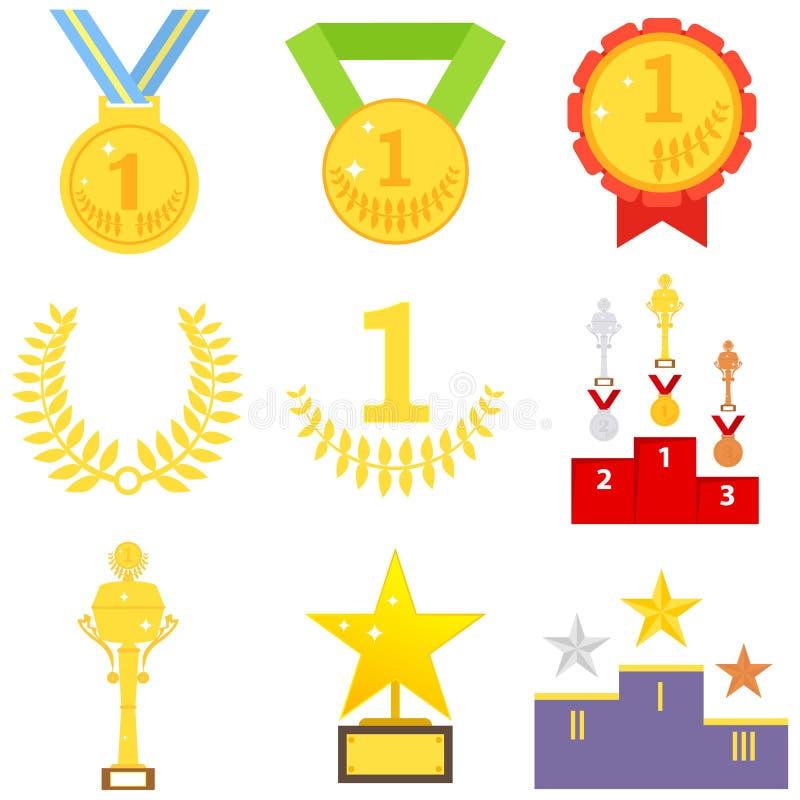 I premi di sport, medaglia, mette in mostra la tazza, trofeo royalty illustrazione gratis