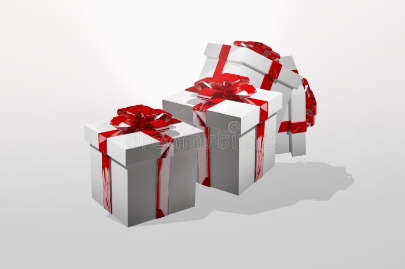 I presente 3d dei regali rendono la progettazione di natale illustrazione vettoriale
