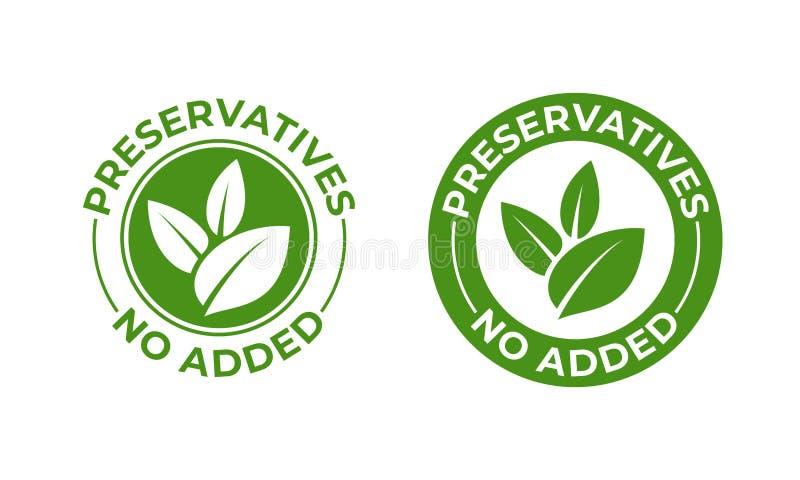 I preservativi non non hanno aggiunto l'icona organica della foglia di verde di vettore Preservativi liberi, bollo organico natur illustrazione vettoriale
