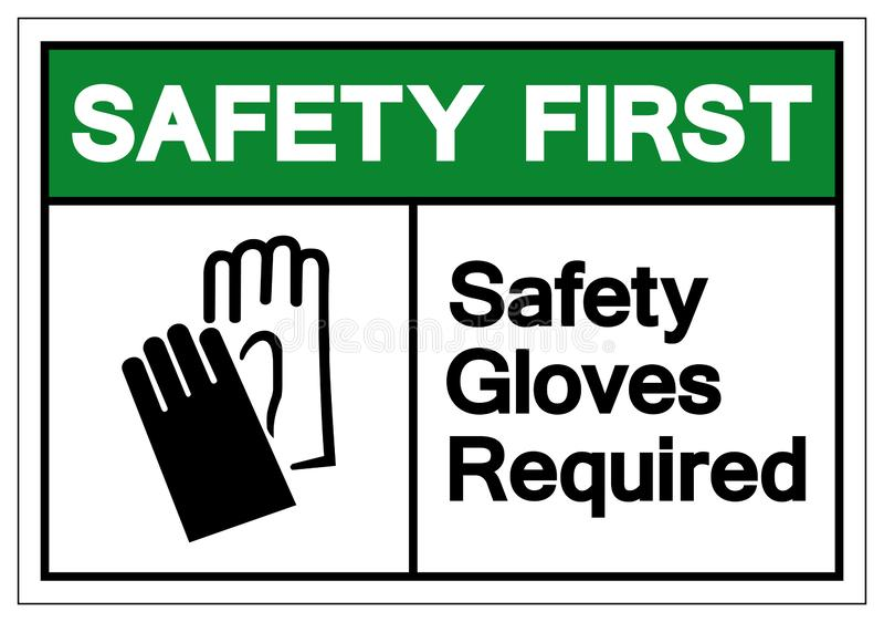 I primi guanti della sicurezza della sicurezza hanno richiesto il segno di simbolo, l'illustrazione di vettore, isolato sull'etic illustrazione di stock