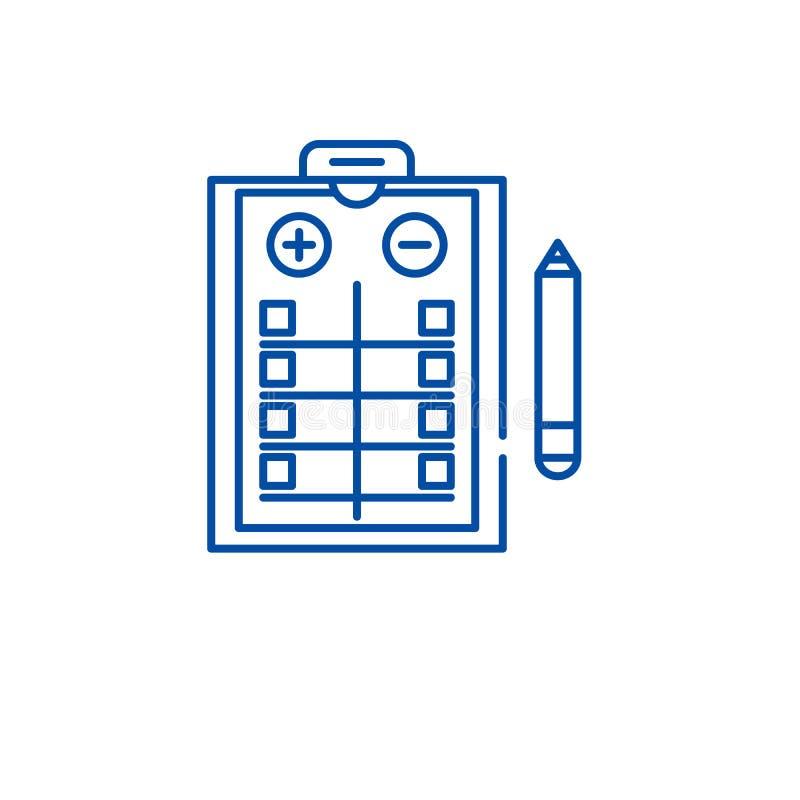 I pro - e - contro elencano la linea concetto dell'icona I pro - e - contro elencano il simbolo piano di vettore, segno, illustra illustrazione vettoriale
