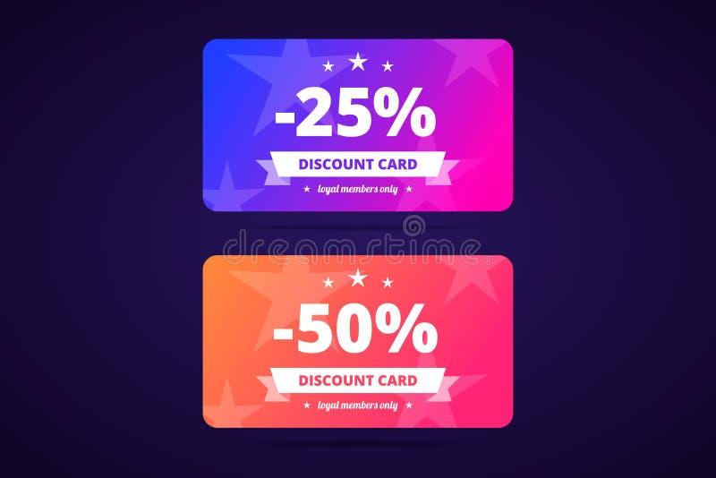 25 i 50 procentów rabat kart również zwrócić corel ilustracji wektora ilustracja wektor