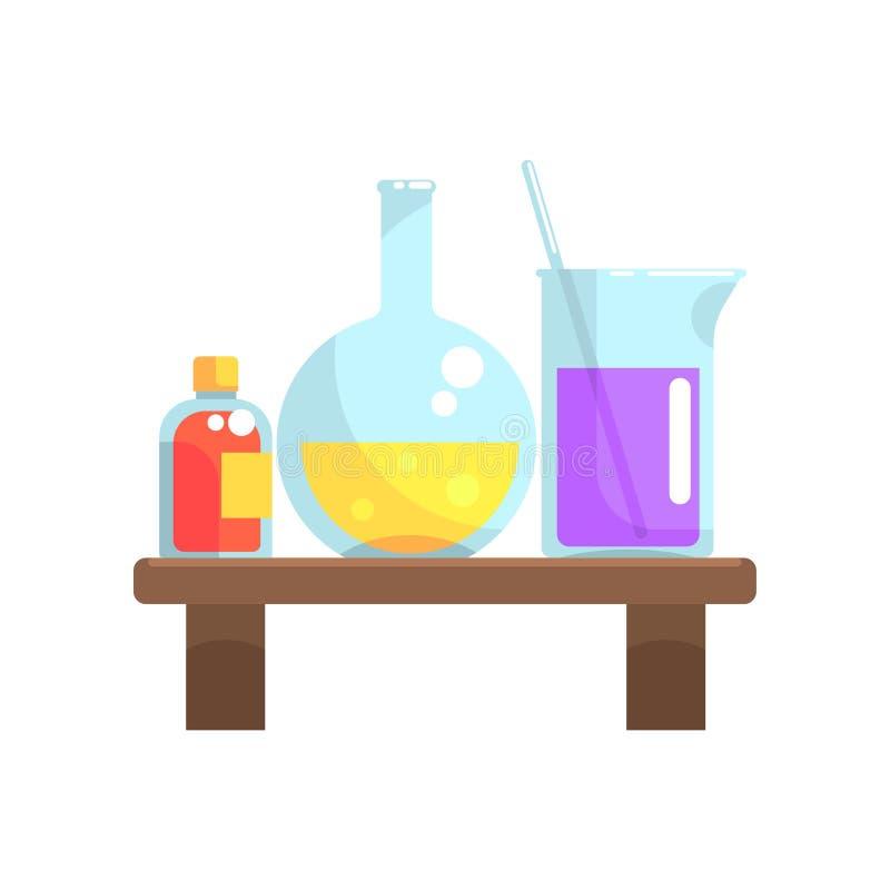 I prodotti chimici del laboratorio in cristalleria stanno sullo scaffale di legno Boccetta, becher e piccola bottiglia con il cop illustrazione di stock