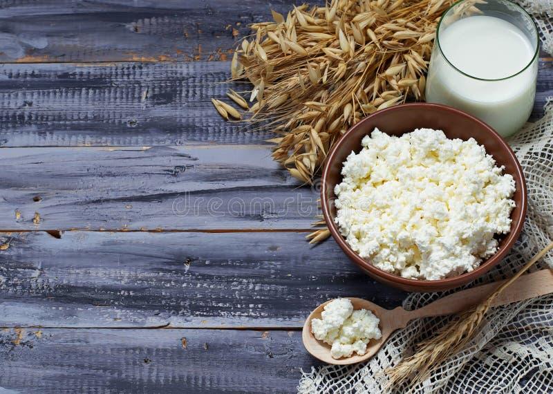 I prodotti lattier-caseario mungono e la ricotta per la festa ebrea Shavuo fotografie stock libere da diritti
