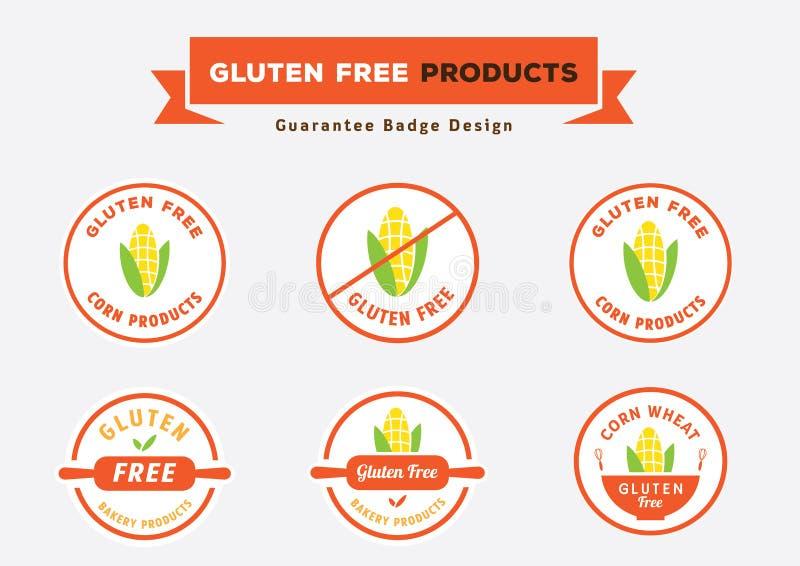 I prodotti liberi del glutine badge la progettazione con il vettore del cereale illustrazione vettoriale