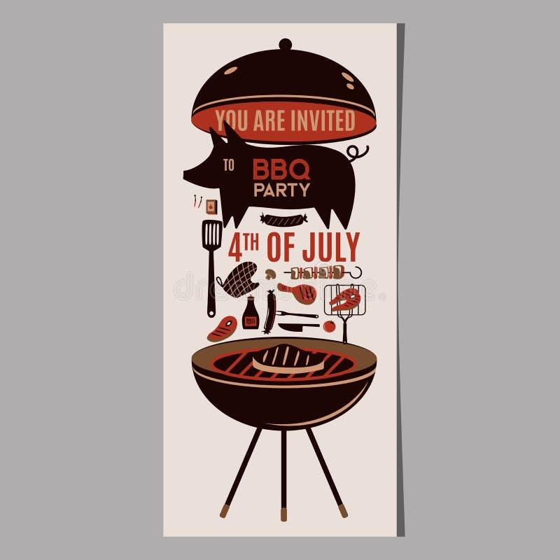 I prodotti vettoriali della cena del partito del ristorante con barbecue della carne della griglia del BBQ a casa infilzano grigl royalty illustrazione gratis