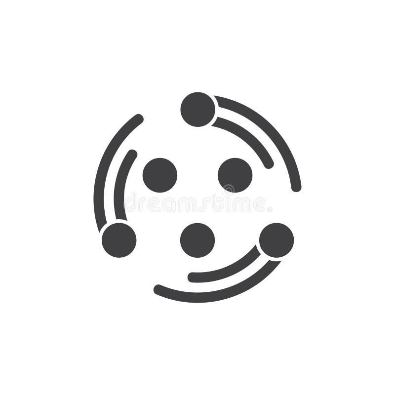 I punti circondano il vettore di logo di simbolo del gruppo di rotazione illustrazione vettoriale