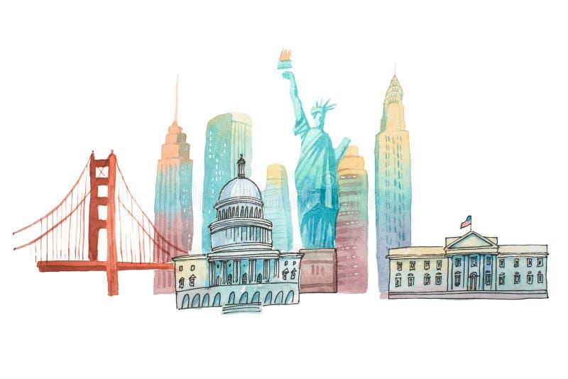 I punti di riferimento americani famosi illustrazione di waercolor di turismo e viaggiano illustrazione vettoriale