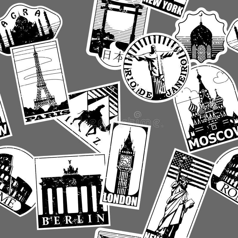I punti di riferimento di carta d'annata viaggiano backgroun senza cuciture del modello delle etichette royalty illustrazione gratis