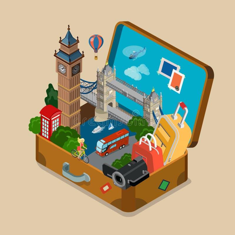 I punti di riferimento di viste della valigia vacation vettore isometrico piano di viaggio royalty illustrazione gratis