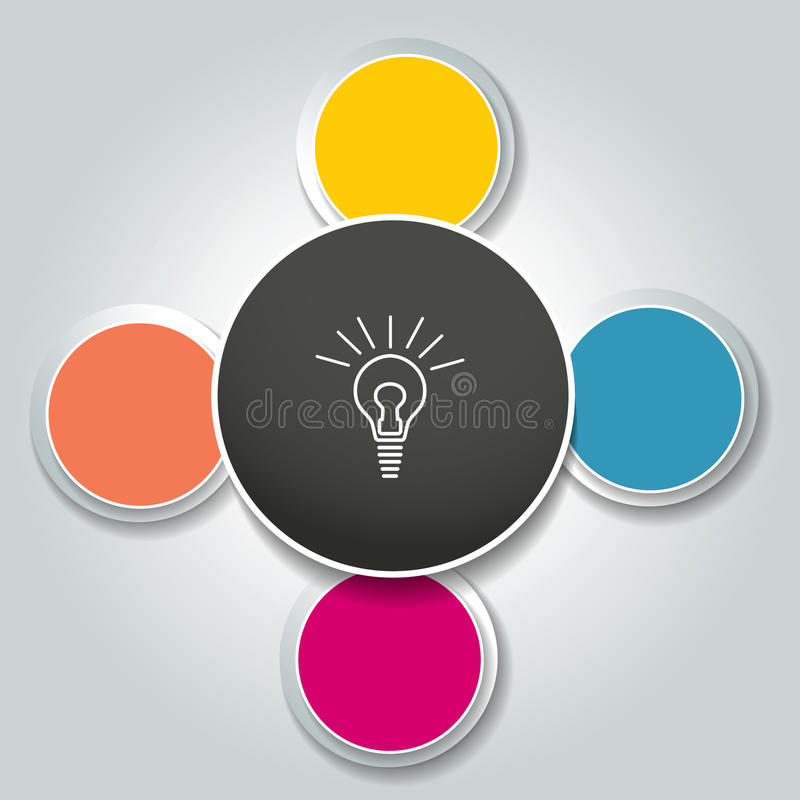 I 4 punti infographic rotondi catturano con la rete il diagramma di flusso Diagramma, grafico, grafico, diagramma di flusso, mode illustrazione di stock