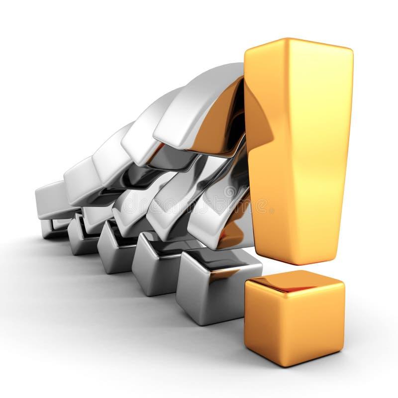 Fila metallica dei punti interrogativi della tenuta dorata del punto esclamativo illustrazione di stock