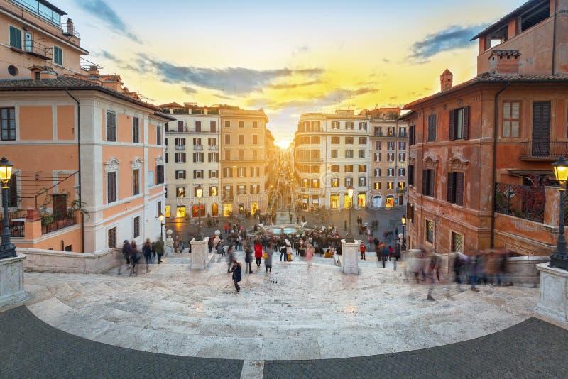I punti spagnoli a Roma al tramonto, Italia fotografie stock libere da diritti