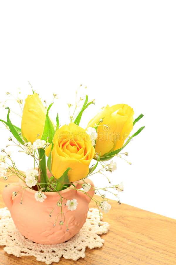 Download Yellow rose and haze grass stock photo. Image of arrangement - 29868560