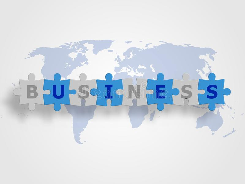 I puzzle collegati come parola dell'AFFARE sulla mappa di mondo come fondo rappresentano il concetto di affari ed il collegamento illustrazione vettoriale