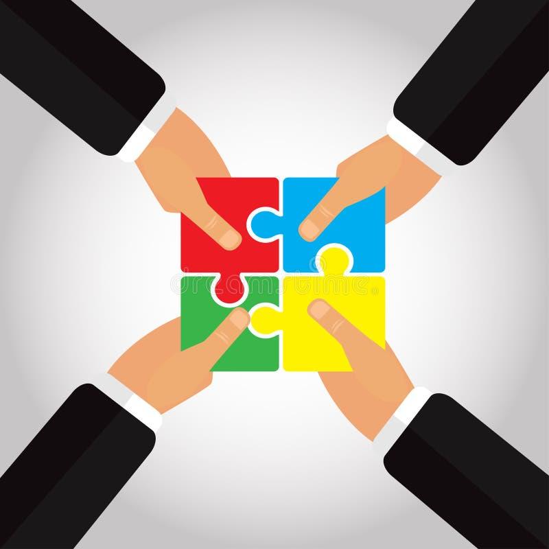 I puzzle piegati nelle mani 4 passa l'illustrazione di vettore illustrazione vettoriale