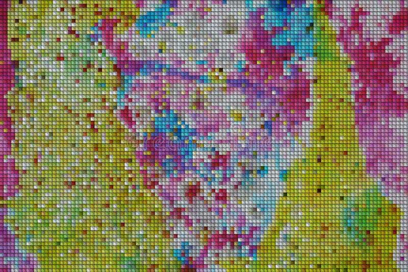 I quadrati blu gialli, punti ingialliscono il fondo cereo fotografie stock