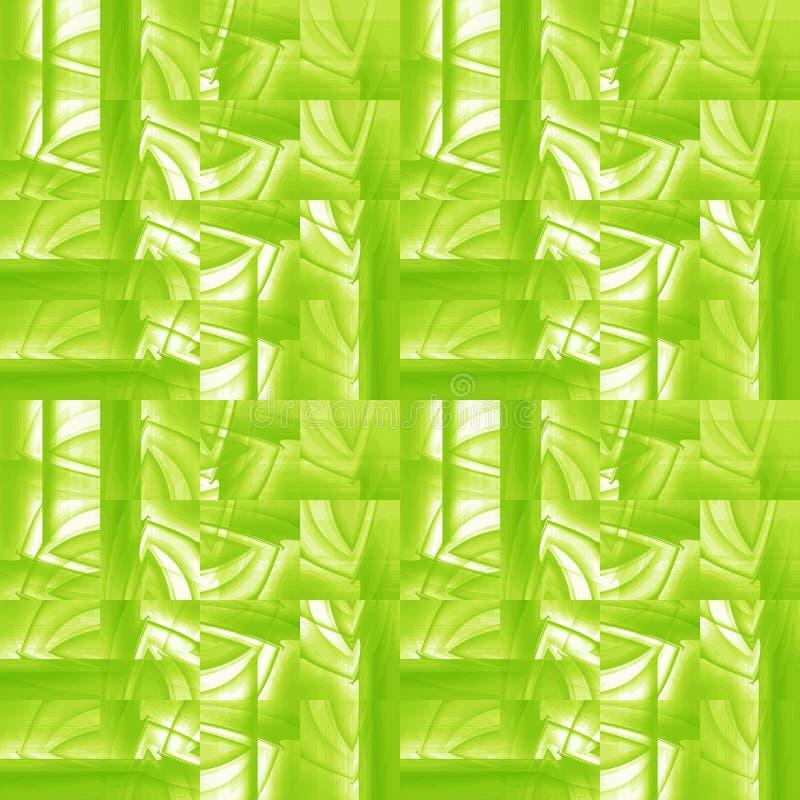 I quadrati moderni complessi modellano il bianco verde chiaro con le bande spostate royalty illustrazione gratis