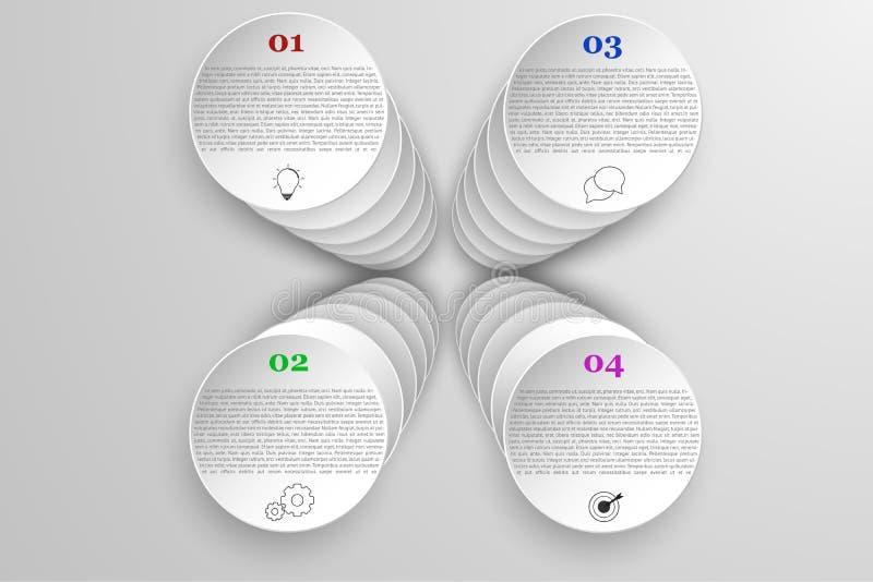I quattro punti moderni hanno arrotondato il infographics di cronologia in 3D royalty illustrazione gratis