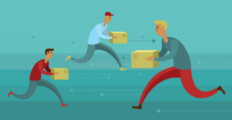 I rätt tid kurirleverans stock illustrationer