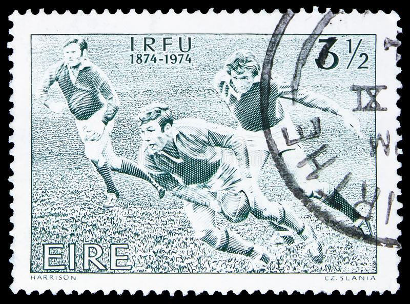 I.R.F.U. 1874-1974, Centenary of Irish Rugby Football Union serie, circa 1974 royalty free stock photos