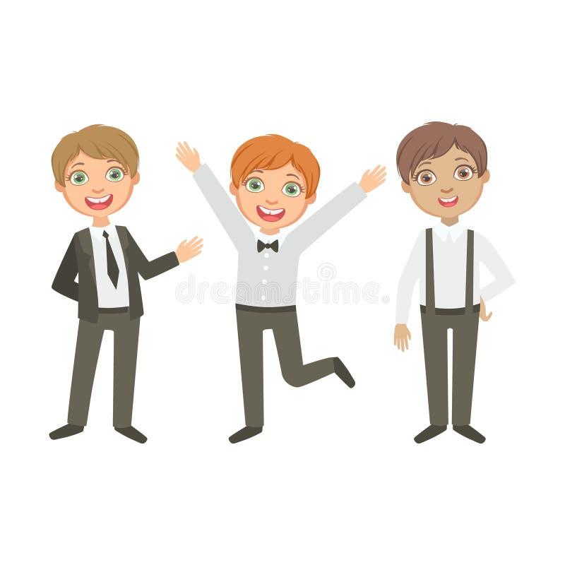 I ragazzi in bianco e nero equipaggia gli scolari felici nei simili uniformi scolastichi della raccolta che stanno e nel fumetto  illustrazione vettoriale