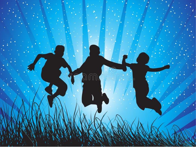 I ragazzi che saltano con la gioia illustrazione vettoriale