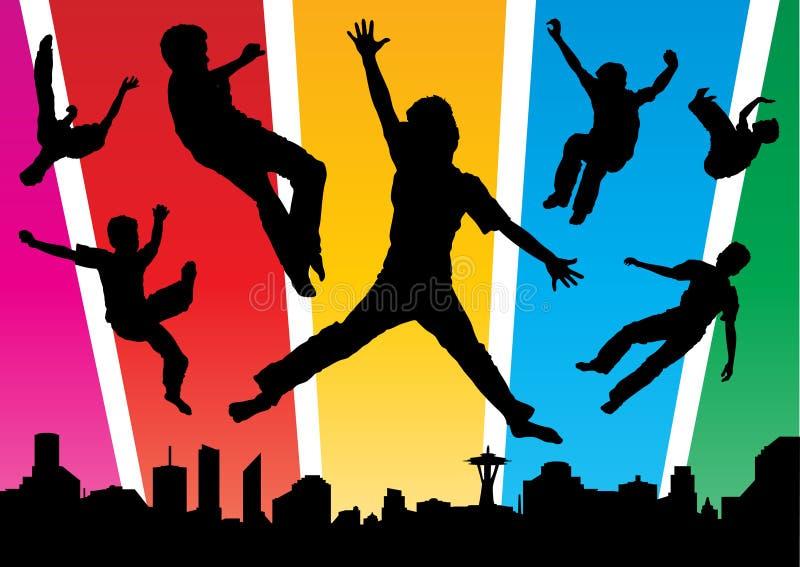 I ragazzi che saltano nella città Funky royalty illustrazione gratis