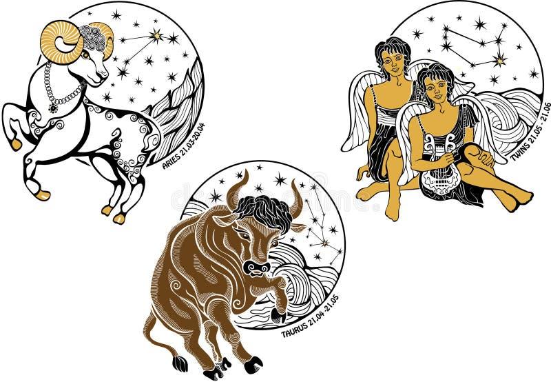 I ragazzi dell'Ariete, di Toro, dei gemelli e lo zodiaco firmano. Horosc illustrazione di stock