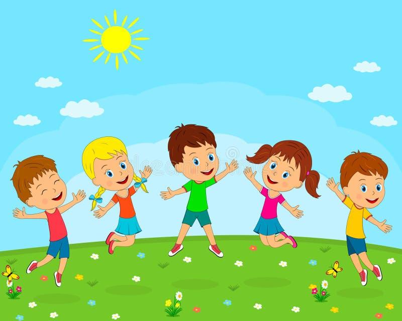 I ragazzi e le ragazze giocano di estate illustrazione di stock